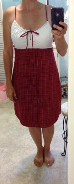 Before - Sorry didn't get the pic until the 2 shirts were cut up... :) After - Cute Lil' Sundress Cut the red plaid shirt b...
