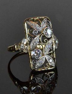 14ct white & yellow gold, Art Deco design diamond ring