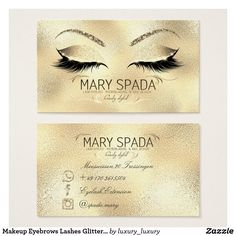 Makeup Eyebrows Lashes Glitter Diamond Gold Mary1 Business Card