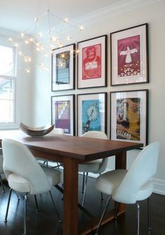 Makes me think if kids want to do fav music poster (silhouette & bubble/graffiti letters).   POP art and poster they would hang up  Dining Room Poster Interior Ideas Best Dining Room Wall Art Interior Decorating Ideas