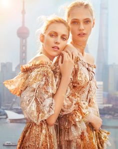 GOLD STARS: Anja and Sasha stun in ruffle embellished dresses designed by Etro