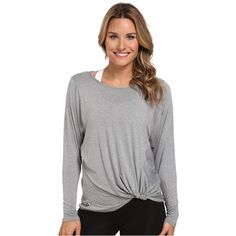 Trina Turk Twist Front Dolman Women's Long Sleeve Pullover, Gray ($40) ❤ liked on Polyvore featuring tops, t-shirts, grey, long t shirts, stretch t shirt, long length t shirts, logo t shirts and long sleeve tops