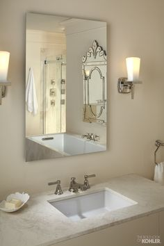 Home Ideas from KOHLER - Nice clean lines with traditional travertine counters