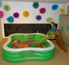 Too lazy to put together a bunch of pipes? Blow up a pool. | 31 Genius Ways To Bring The Playground Indoors