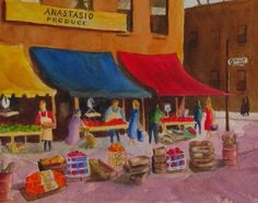 """South Philly Italian Market"" Watercolor #Painting, Home Decor, #Gift Ideas, Unique Gift, #Art. By Barbara Rosenzweig. #Philadelphia's Italian Market is a great place to visit. It's the oldest and largest working outdoor market in the US. Colorful fruits and vegetables, sidewalk displays, bright awnings, and vibrant city life greet you. This painting is a wonderful addition to your home! Copyright © 2011 by Barbara Rosenzweig, matted print of original 11x14 $34.00, Free Shipping US - Etsy."
