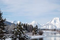 Grand Teton National Park provides a stunning backdrop in wintery Wyoming.