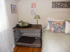 Black wire dog crate with wood top