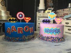 Girl/Boy Super Hero Cakes Sugar Bee Sweets Bakery  www.sugarbeesweets.com Girl Superhero Cake, Superhero Party, Kid Cakes, Ali, Cake Decorating, Bakery, Birthday Cake, Sweets, Passion