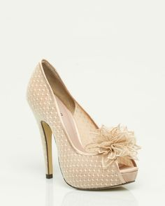 nude peep toe pumps with flower ~ le chateau