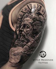 This is my new ink. Full Sleeve Tattoo Design, Arm Sleeve Tattoos, Leg Tattoos, Body Art Tattoos, Arm Tattoos For Guys, Zeus Tattoo, Tattoo On, Posiden Tattoo, Gott Tattoos