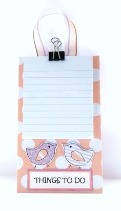 Things To Do - Hanging Notepad Holder - Little Birds £4.50