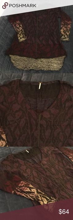 Free people floral sweater faux leather detail M Super rare!  Never worn. High low sweater. Lacy knitting at top back. Faux leather braid down center front. Black, burgundy, purple, navy, grey Free People Sweaters V-Necks