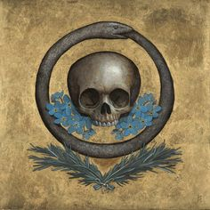 The Ouroboros is an ancient symbol depicting a serpent or dragon eating its own tail. The Ouroboros represents the perpetual cyclic renewal of life and infinity, the concept of eternity and the eternal return, and represents the cycle of life, death and rebirth, leading to immortality, as in the phoenix. Artwork by Scott Holloway.