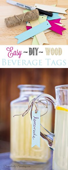 Easy DIY Wood Beverage Tags - such a cute and easy idea!