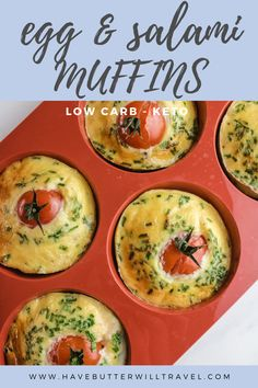 Keto egg muffins are a perfect keto breakfast option. Great for an on the go lunch or breakfast and a perfect addition to the kid's keto lunchbox. Ketogenic Recipes, Low Carb Recipes, Keto Egg Muffins, Tomato Breakfast, Low Carbohydrate Diet, Lunch To Go, Breakfast Options, Quick And Easy Breakfast, Savoury Dishes