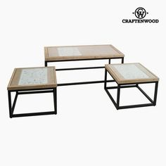 If you want to add a touch of originality to your home, you will do so with Set of 3 tables Fir wood x 61 x 47 cm) by Craftenwood. dimensions: 122 x 61 x 47 cm Structure: Metal Base: glass Craftenwood Outside Furniture, Garden Furniture, Furniture Sets, Oh My Home, Garden Table And Chairs, Chair Covers, Teak Wood, Drafting Desk, Sun Lounger