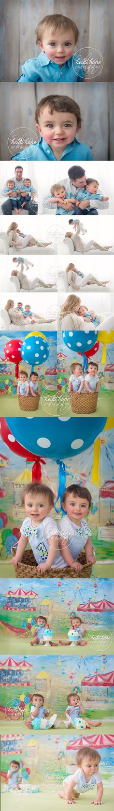 twin first birthday cakesmash with carnival backdrop by heidi hope photography