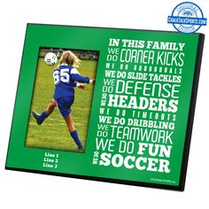Your soccer mom will love a personalized photo frame from CHalkTalkSPORTS.com
