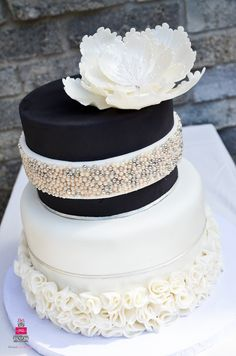 Open Peony Jeweled Wedding Cake
