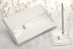 Cream Sash Guest Book with Pen Set by Lillian Rose, $25.12