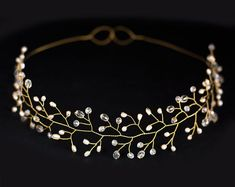 Bridal tiara wedding tiara wedding crown Gold tiara by ArsiArt, $43.00