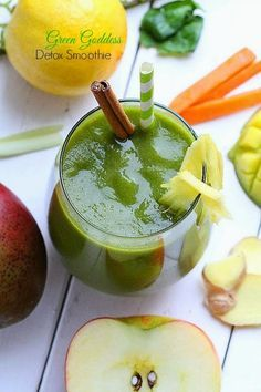 Green Goddess Detox Smoothie is the best way to start the morning. It's naturally sweet, healthy and full of vitamins, nutrients. It's the perfect detox to help you get back on track after the holidays! Sugar free, dairy free, paleo and vegan.