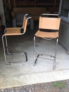 Two Chrome Leather Bar Stools Marcel Breuer Style Mid Century Modern $495 ebay