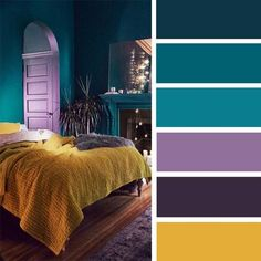 Find color inspiration for those who love color,The Best Color Schemes for Your Bedroom,The Best Color Schemes for Your Bedroom,Teal mustard ,purple and lavender bedroom color palette Bedroom Colors Purple, Bedroom Colour Palette, Purple Bedrooms, Bedroom Color Schemes, Bedroom Green, Dark Teal Bedroom, Teal Bedroom Walls, Calm Bedroom, Colour Pallette