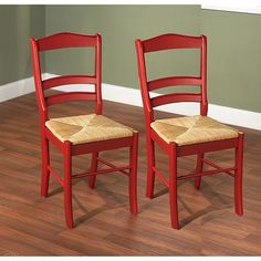 Paloma Woven Rush Seat Red Wood Finish Dining Room Furniture Chair Pair Kitchen