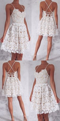 Lace-Up White Lace Short Homecoming Dress