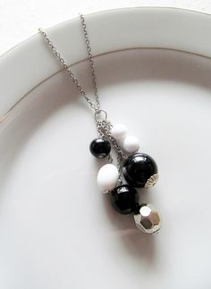Black and White Long Necklace - Black White and Silver Beaded Cluster on Long Silver Chain - Versatile Everyday Necklace by KatyaValera, $15.00