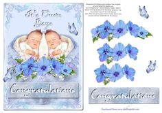 Gorgeous  New Baby Design -Its Twin Boys -2 by Di Simpson Gorgeous disign for a new little baby boy twins. Has lots of 3D flowers so you can bring your card to life. Print out 2 sheets if wanting some more layers