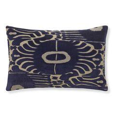 Velvet Ikat Applique Lumbar Pillow Cover, Navy/Natural