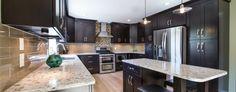 matte black kitchen cabinets brick wall - Google Search