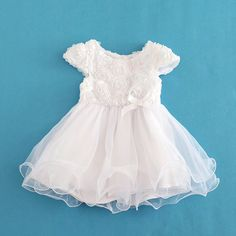 1875a94d7483 Baby Girl Party Dress White Floral Princess Short Sleeve Dresses. Itty  Bitty Kids