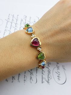 18K Yellow Gold Bracelet with 10+ ct Colorful Natural Cabouchon Stones: Ruby, Peridot, Pink Tourmaline, Aquamarine and Diamonds