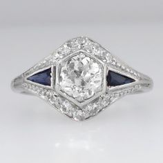 Lovely Art Deco Old European Cut Diamond & Sapphire Engagement Ring 18k $3499 from Jewelry Finds!