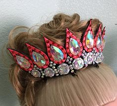 Maeve Single row embroidered tiara with hand sewn teardrop and rivoli rhinestones Headdress, Headpiece, Costume Accessories, Hair Accessories, Gymnastics Suits, Jazz Dance Costumes, Dance Hairstyles, Irish Dance, Headgear