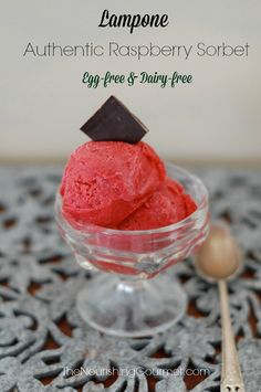 Lampone, an authentic Raspberry Sorbet is just perfect for a hot summer day. Every bite is vibrant with flavor, AND it's egg free and dairy free. This is lovely for serving to guests. So special! --- The Nourishing Gourmet