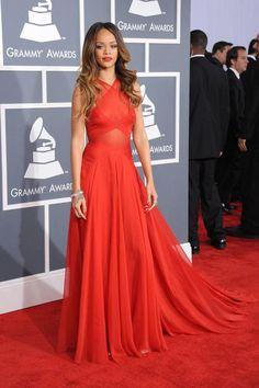 Rihanna Red Carpet Dress Grammy Awards Criss-cross Strap Celebrity Prom  Dress e1a729f00
