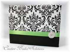 Black and White Madison Damask with Apple Green Wedding Guest Book