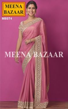 Pink Zari and bead work Georgette Saree MBST4 Bringing out the feminity to its peaks, this ensemble wraps up with a fall as smooth as georgette as it shimmers your evening with an illuminating zari border to sparkle the eyes of the viewer with a hue of pink to add to its beauty.