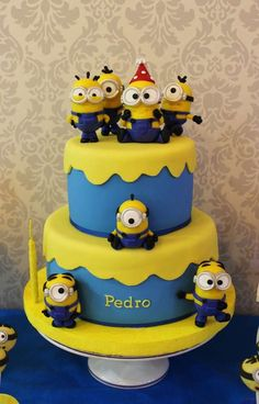 Minion cake at a Despicable Me birthday party! See more party planning ideas at CatchMyParty.com!