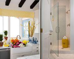 Grant K. Gibson Interior Design Yellow Sink & Bathroom @Sarah Nasafi Grayce