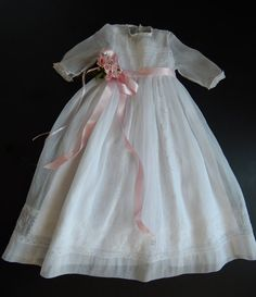 French Handmade Christening Gown or Flower by Vintagefrenchlinens