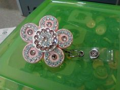 Pink & White Bling Flower ID Badge Holder - made from medicine vial caps  :)