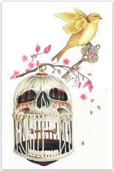 Bird Cage Digital Print by James Robinson at Gilded Cage Tattoo Studio. An idea...