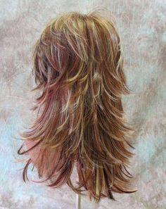 Long Wig Choppy Layers Lots Of Motion 3 Tone Auburn Strawberry Blond Womens Wigs Long Shag Hairstyles, Haircuts For Long Hair, Long Hair Cuts, Hairstyles With Bangs, Trendy Hairstyles, Bride Hairstyles, Short Hair Styles Easy, Short Hair Updo, Medium Hair Styles