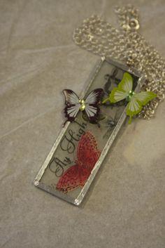 Glass microscope slides washi tape butterflies by hudathotjewelry, $15.00