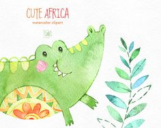 Carina Africa. Clipart animali dell'acquerello Leone
